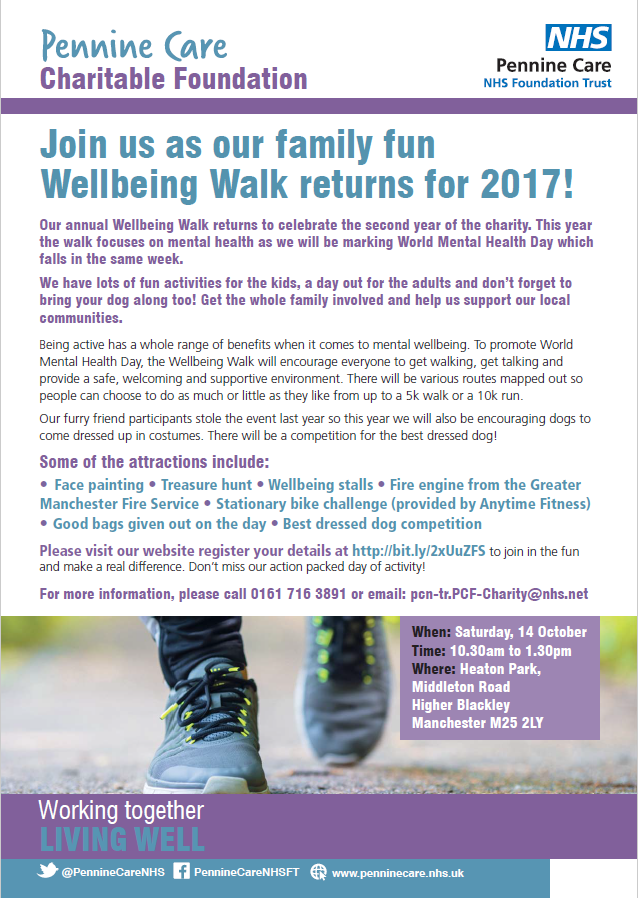 Pennine Care Charitable Foundation Wellbeing Walk poster