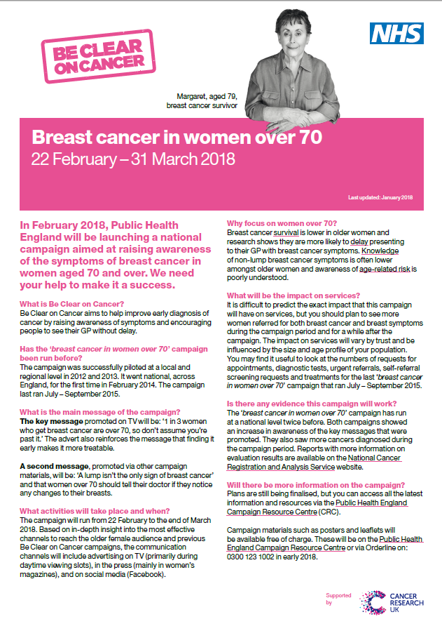 Breast Cancer in women over 70